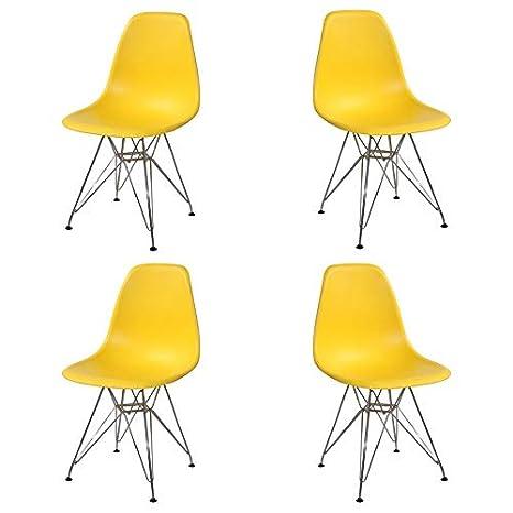 Ventamueblesonline Pack 4 SILLAS Tower Chrome Amarillas ...