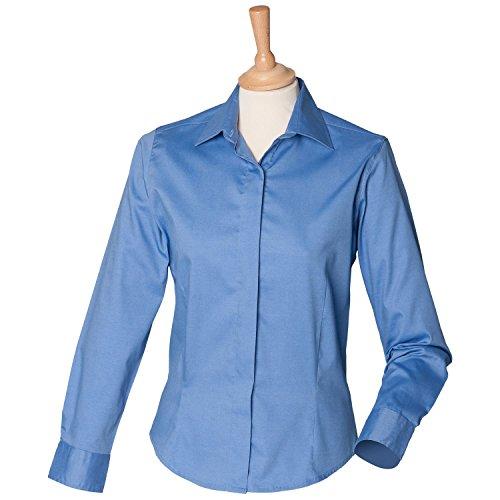Henbury Damen Long Sleeve Oxford Shirt H551Corporate blau XXL/18