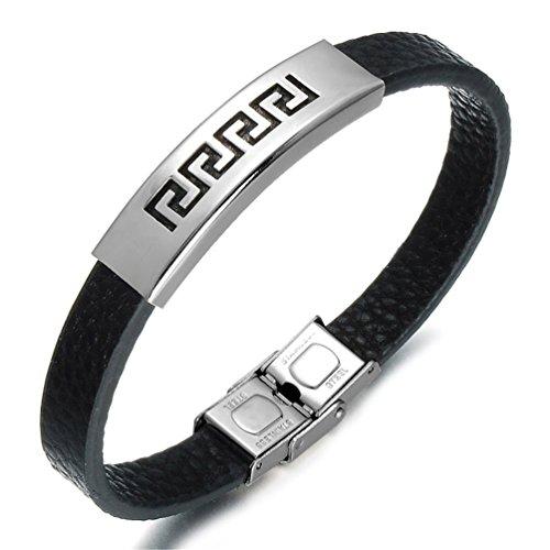 b9f1bbd2f212 Trenzado pulsera de piel Para Hombre Brazalete Pulseras Fashion cierre de acero  inoxidable Mejor