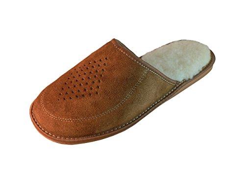 Zapatillas de estar por casa para hombre, ante, con suela ortopédica, varios colores Brown (Wool Lined)