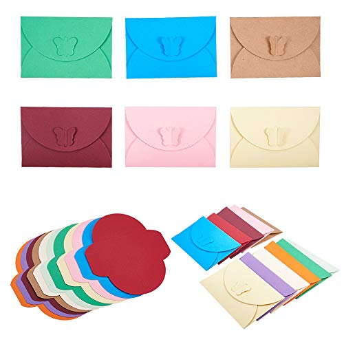 (PandaHall Elite About 55 Pcs Mini Gift Card Envelopes 11 Colors Paper Envelope Holders with Butterfly Clasp 4.1