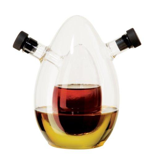 Oggi Oval Double Chamber Hand Blown Glass Oil and Vinegar Cruet, Clear - Oggi Bottle Stopper