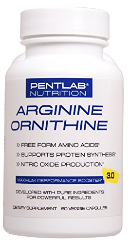 L ARGININE + L ORNITHINE EXTRA STRENGTH Nitric Oxide Booster For Muscle growth, Vascularity & energy Cardio Heart Non GMO Pentlab