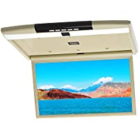 CARAVAN 17.3in Overhead MP5 Monitor Ultra Slim HD LED Flip Down Monitor IR/FM/SPK/USB/TF/HDMI MP4 Player with Remote Control for Car/SUV/Tour Bus Beige