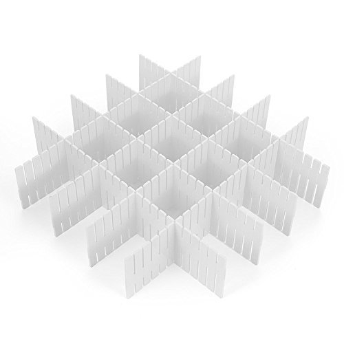 8 Pcs Plastic DIY Grid Drawer Divider Household Necessities Storage Thickening Housing Spacer Sub-grid Finishing Shelves for Home Tidy Closet Stationary Scarves Organizer (White)