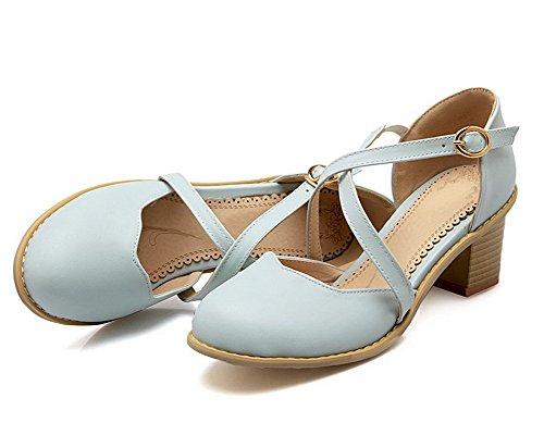 Femme Correct Bleu Sandales Fermeture à Couleur d'orteil AgooLar Talon Unie Boucle GMBLB014124 q4RwBBZf