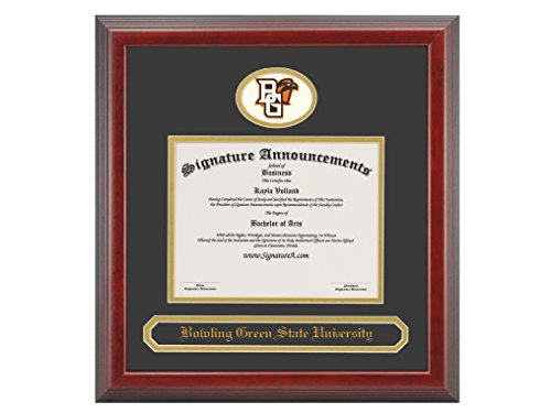 Signature Announcements Bowling Green State University (BGSU) Undergraduate and Graduate/Professional/Doctor Graduation Diploma Frame with Sculpted Foil Seal & Name (Cherry, 16 x 16)