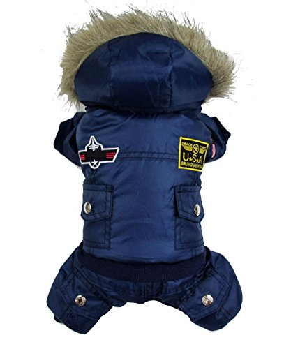 Gollyking Airman Design Dog Hooded Clothes Cold Weather Winter Coat With Legs For Small Girl Boy Puppy Cats Pet (XL, Blue) (Airmans Girl)