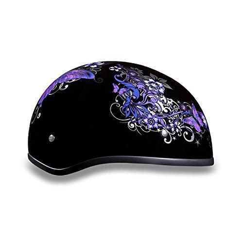 Women's DOT Purple Butterfly Motorcycle Half Helmet (Size M, MD, ()