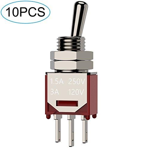 (DIYhz 10Pcs AC 250V/1.5A 120V/3A ON/ON 2 Position 3 Pin SPDT Mini Micro Toggle Switch)