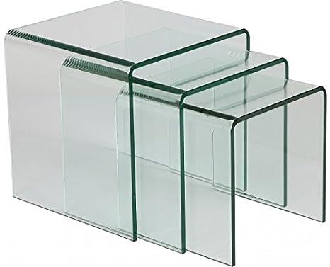Tendancemeubles Tables Gigognes Verre Trempé X3 Amazonfr