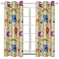 BGment Animal Zoo Kids Curtains for Bedroom Darkening,...