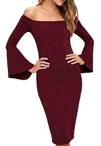 Shoulder Evening Slim Off Dress Pattern1 Long Coolred Sleeve Women Midi Backless P8pfWw57