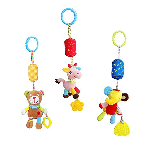Baby Chime Infant Rattle (Daisy Rattle Toy Infant Baby Plush Animal Stroller Car Seat Hanging Toys Crib Pram Ornament Puppet with Wind Chime and Teether - Set of 3)