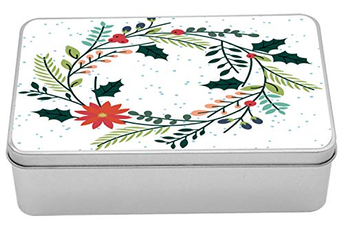 Lunarable Poinsettia Metal Box, Simplistic Illustrated Wreath with Holly Berry Leaves and Flowers with Dots, Multi-Purpose Rectangular Tin Box Container with Lid, 7.2