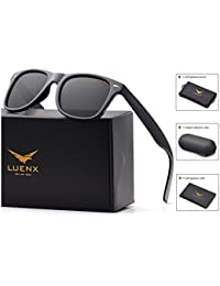 Mens Wayfarer Sunglasses Polarized Womens: UV 400 Protection,by LUENX with Case
