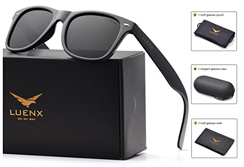 Mens Wayfarer Polarized Sunglasses for Womens UV 400 Protection Black Lens Glossy Black Frame 54MM ,by LUENX with Case