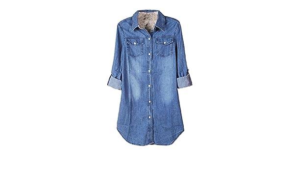 06257f0ea Culater® Camisa De Mezclilla De Las Mujeres Ocasionales De La Manga Larga  De La Vendimia Azul Encabeza Blusa (S)