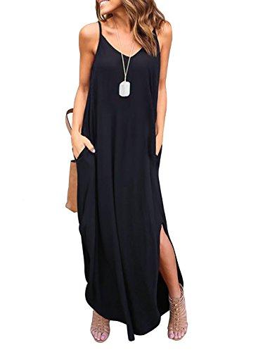 HUSKARY Women's Summer Casual Sleeveless V Neck Strappy Split Loose Dress Beach Cover Up Long Cami Maxi Dresses with Pocket Black (Best Dress Shape For Apple Body Type)