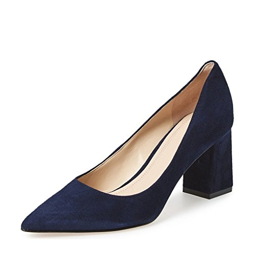 FSJ Women Classic Formal Pumps Pointed Toe Chunky Heels Shoes For Business Occasion Size 4-15 US Blue-suede wF6Aqy