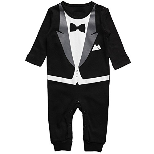 Vinaka Newborn Baby Boy Rompers Tuxedo All-in-one Suit Bowtie Bodysuit Gentleman (70cm, Black)