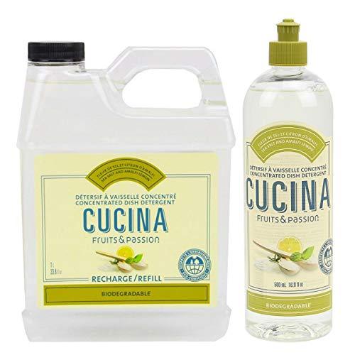 Fruits and Passion Cucina Daily Liquid Dish Detergent Refill Duo Set (Sea Salt and Amalfi Lemon)