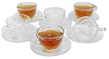 Chefcaptain Tea/Coffee Clear Glass Elegant Cup and Saucer Set, 12 Piece