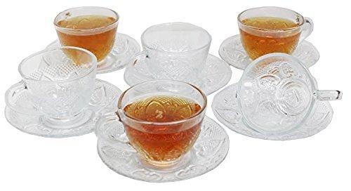 Chefcaptain Tea/Coffee Clear Glass Elegant Cup and Saucer Set, 12 Piece - Elegant Tea Sets