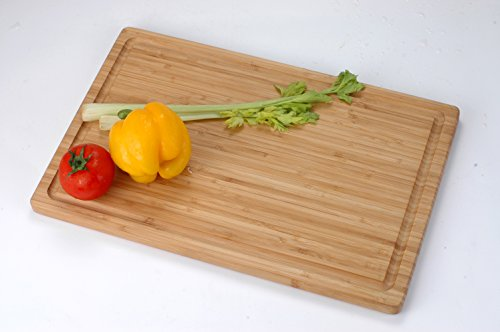 Utopia Kitchen Extra Large Organic Bamboo Cutting Board (17 x 12 inch) - Cutting Boards for Meat and Chopping Vegetables 6 Moso bamboo wood's hard density makes it sustainable and is almost maintenance free Cutting board is used when cutting fruits or meat or bread or baked goods without unnecessary hacking and sawing Extremely light yet very durable bamboo construction makes it hard to scar a bamboo cutting board with a knife and at the same time its soft nature does not to damage or blunt your knives