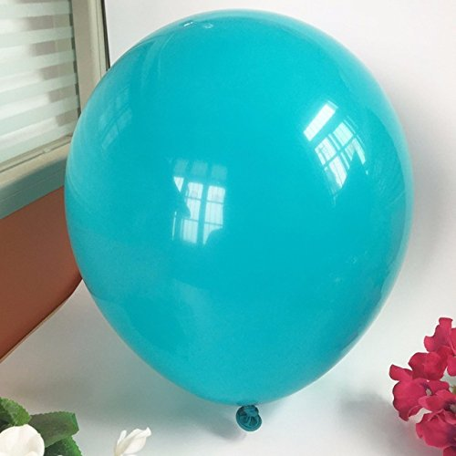 100pcs Solid Metallic Latex Balloons 12-Inch 65 Yards Crimped Curling by (TURQUOISE, PACK OF 100)