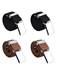 4PCS Kids Boys Elastic Buckle Belt - Adjustable Stretch Belt (2pcs Brown/2pcs Black)
