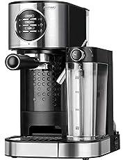 MPM MKW-07M koffiezetapparaat Express, 15 bar, voor espresso en cappuccino, warmhoudcontainer 0,7 l, opwarming kopjes, roestvrijstalen afwerking, waterreservoir 1,2 l, demonteerbaar, 1470 W