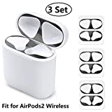 JNSA Dust Guard for AirPods with Wireless Charging Case (Latest Model) [Chromium Plating][Protect AirPods from Metal Dust][Upgrade Thin] AirPods Dust Proof Film Protector (3 Set - Glossy Black)