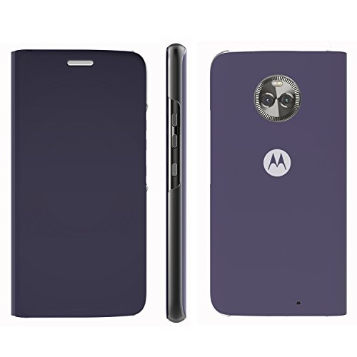 Moto X4 Flip Case, Lenovo Touch Flip Cover Transparent Shell Shock Resistant and Edge Protective Folio Flip Case for Motorola Moto X4 (Blue)