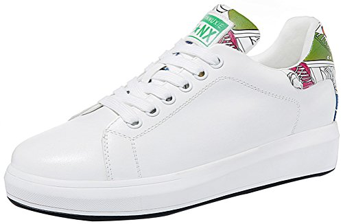 Rally Driver Costume (T&Mates Womens Casual Comfort Round Toe Lace-Up Platform Flat PU Fashion Sneakers (5 B(M)US,White))