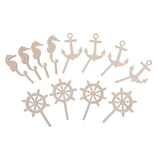 Jili Online 12Pieces/Set Summer Beach Style Rudders Seahorse Anchor Cupcake Toppers Baby Shower Birthday (Rudder Set)