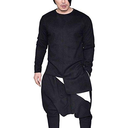 kaifongfu Men's Tops,Mens Irregular Side Zipper T-Shirt Long Sleeve Muscle Tee T-Shirt Blouse(Black, XL) (Tee Black Apparel John Adult)
