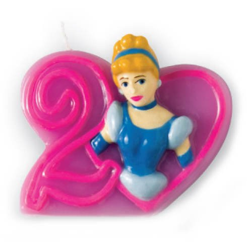 PARTY DISCOUNT Zahlenkerze 2 Disney Prinzessin, 3D Party-Discount