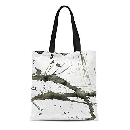 Semtomn Canvas Tote Bag Shoulder Bags Artistic Abstract Black Ink Splatter Paint Effect on White Women's Handle Shoulder Tote Shopper -