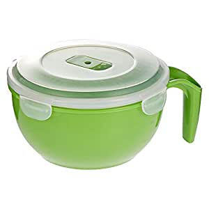 Morelife Microwaveable Soup, Noodle Mug Green (1.2 Liters) - 20.3 x 16.8 x 10.2 cm