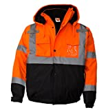 New York Hi-Viz Workwear WJ9011-L Mens ANSI Class 3 High Visibility Bomber Safety Jacket, Waterproof (Large, Orange)