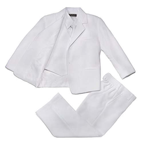 NancyAugust Classic Boys Formal Suit with Vest 2T-20 in White-White-10 ()