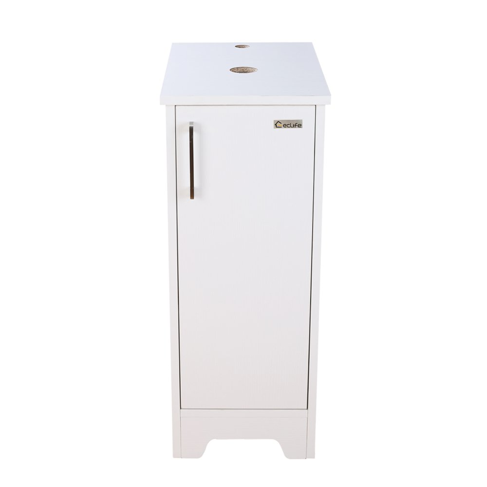 U-Eway 13 inch White Bathroom Vanity, Wood Cabinet Units,Free Standing,Morden Sink Stand Pedestal for Single Small Bathroom,Adjustable Built-in Clapboard,Soft Closing Door,MDF Made (White)