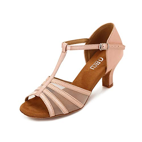CLEECLI Women's Ballroom Dance Shoes Latin Salsa Dance Shoes T-Strap Sandals 2.5