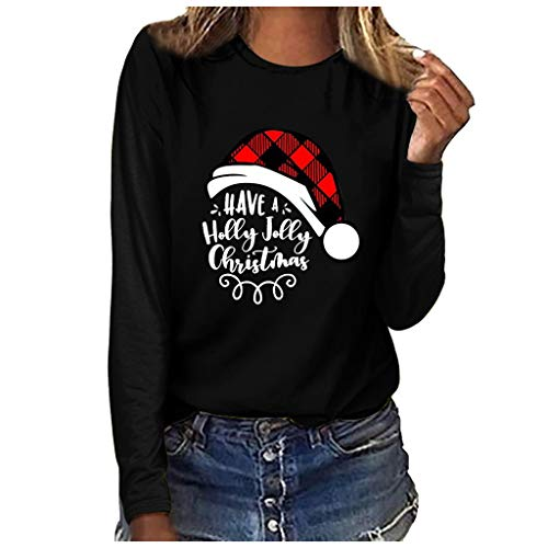 Holzkary Women's Christmas Plaid Printed Pullover Loose Round Neck Long Sleeve Tops Blouses(M.Black-1)