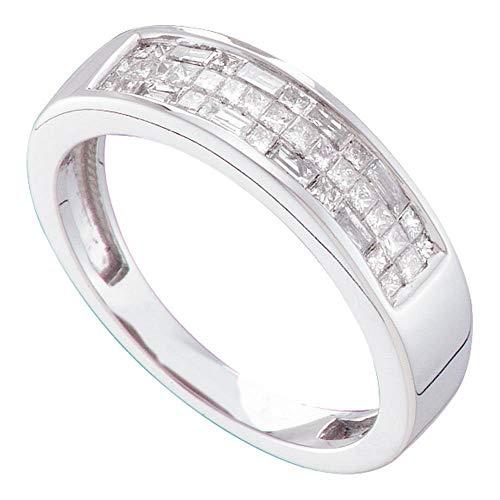 - Womens Princess Diamond Wedding Band Three Row Fashion Ring Round Baguette Invisible Set .50ct 14k White Gold