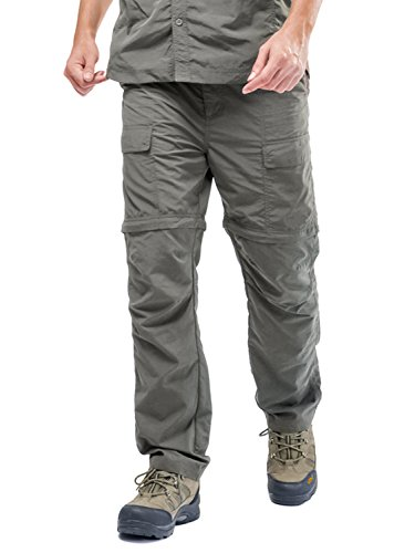 CloSoul Direct Men's Wild Hiking Quick Dry Cargo Pants Zip-Off Convertible Elastic Waterproof Sportwear Trousers Green/XL