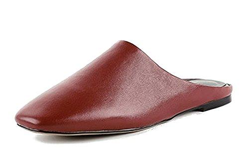 LYJBIK Comodi di Cuoio e da Sandali Fuori da Scarpe Brown Donna Dentro Pantofole Scarpe Muli Iqr7wI