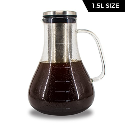 Cold Brew Iced Coffee and Tea Maker - 1.5L Glass Pitcher Carafe with Removable Stainless Steel Infuser and Airtight Lid
