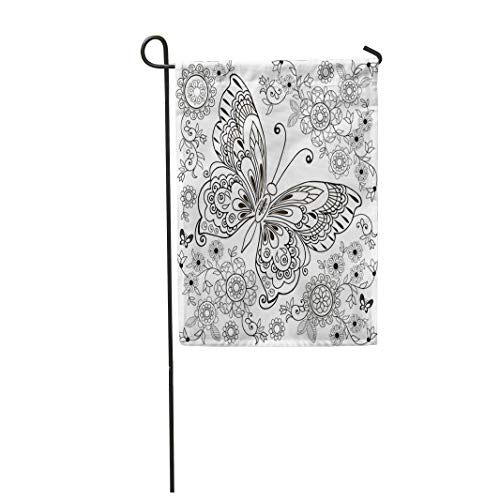 Semtomn Garden Flag 28x40 Inches Print On Two Side Polyester Adult Butterfly with Floral for Anti Stresa Coloring Book Page Zentangle Animal Home Yard Farm Fade Resistant Outdoor House Decor Flag ()